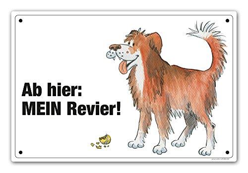 Comic-Schilder.de Schild Ab Hier: Mein Revier! (Hütehund rot)
