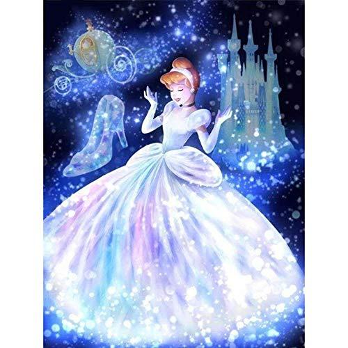 5D Diy Diamante Pintura Bordado Zapatos de cristal de dibujos animados Cenicienta Cuadrado completo/Diamante redondo Mosaico Punto de cruz Decoración Regalo,80x105cm