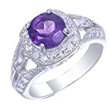 0.85 cttw Purple Amethyst Ring in .925 Sterling Silver with Rhodium Round Shape Size 7