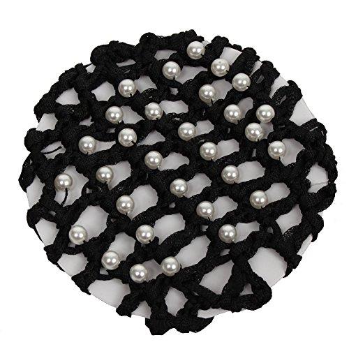 JUSTFOX - Dutt Netz Haarnetz Bun Frisurenhilfe Stoff Knotennetz schwarz mit Perlen