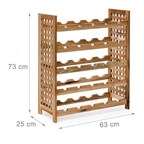 Relaxdays Weinregal Walnuss für 25 Flaschen HxBxT: 73 x 63 x 25 cm Flaschenregal Holz aus Walnussholz geölt mit 5 Etagen für je 5 Flaschen Weinflaschenregal, natur - 5
