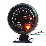 NCElec Universal 3.75' 12V White LED Backlit Tachometer Gauge with Red Shift Light for Auto Gasoline Car, 0-8000 RPM