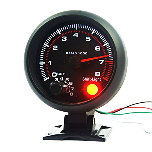 NCElec Universal 3.75' 12V White LED Backlit Tachometer Gauge with Red Shift Light for Auto Gasoline Car, 0-8000 RPM