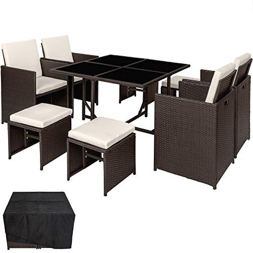 TecTake 800820 Conjunto Muebles de jardín de ratán sintético, Juego de Comedor 4+4+1 + Funda con Tornillos de Acero Inoxidable, Mobiliario de Exterior (Antiguo)