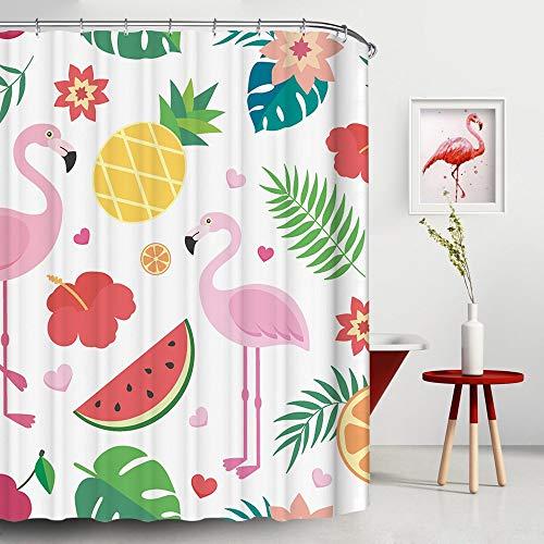 JOOCAR Design Duschvorhang, Sommer-Tropenmotiv, Flamingo, Ananas, Wassermelone Love, wasserdichter Stoff, Badezimmer-Dekor-Set mit Haken