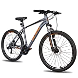 Hiland 27.5 Inch Mountain Bike 27-Speed 18 Inch Aluminum Frame Lock-Out Suspension Fork Hydraulic Disc-Brake Bicycle Grey
