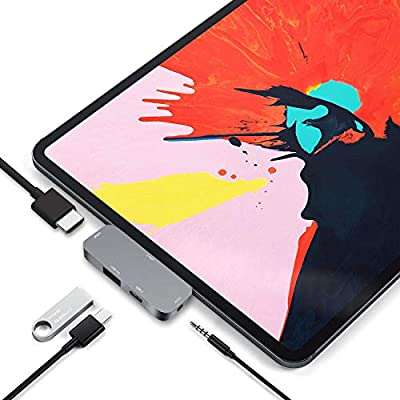 USB C Hub for iPad Pro 2020, RREAKA 4 in 1 Type C Hub Adapter with 4K HDMI Output, USB 3.0,3.5mm Aux Audio Jack, USB C PD Charging Port Compatible for New iPad Pro 2020 12.9