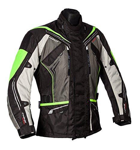 Roleff Schwarz-graue Motorradjacke mit neon-gelben Elementen, Protektoren, Belüftungssystem, Klimamembrane und herausnehmbarem Thermofutter