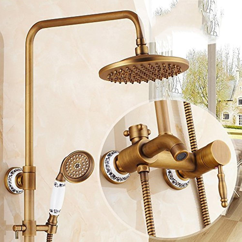 ZQ@QX Das Kupfer antik Runde im europischen Stil mit Dusche Kit, G)