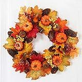 Yelite 40cm/15.7 in Artificial Wreath Maple Leaves Pumpkin Flower Garland Autumn Halloween Thanksgiving Day Front Door Wall Hanging Decoration