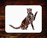 Stencil a forma di gatto, riutilizzabile, decorazione geometrica, stencil da parete per animali domestici, da usare su progetti di carta, album, muri, pavimenti, tessuti, mobili, vetro, legno, ecc. m
