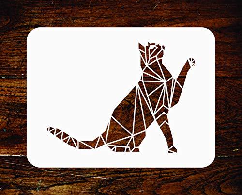 Katzen-Schablone – wiederverwendbare geometrische Dekoration Haustier Tier Wand Schablone – Verwendung auf Papierprojekten, Scrapbook, Tagebuch, Wände, Böden, Stoff, Möbel, Glas, Holz usw. Größe S