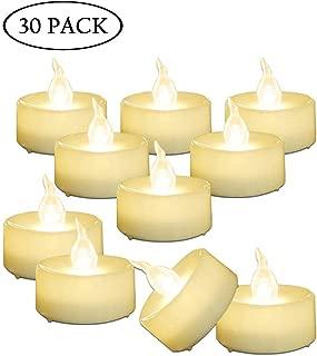 AMAGIC 30 Pack LED Tea Lights, Flameless Tealights Candles with Flickering Warm White Light, Battery Operated Tea Lights Bulk for Halloween Pumpkin Decor, D1.4'' X H1.3''