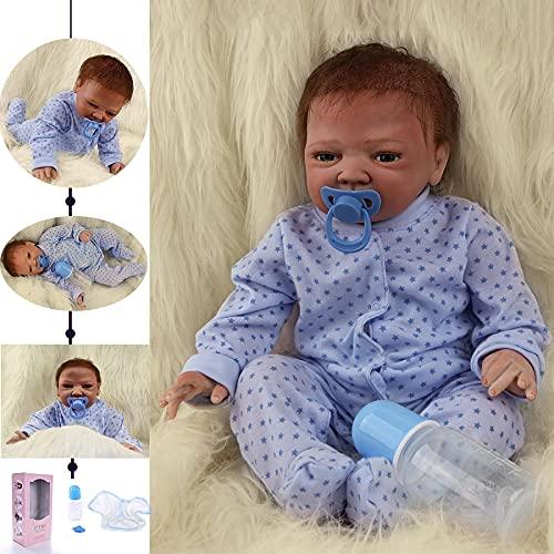 ZIYIUI 20 Pulgadas 50 cm Realista Bebé Reborn Muñecas Niño Vinilo Silicona Muñecos Vida Real Natural Regalos de Cumpleanos Juguetes de los Niños Mayores de 3 años