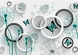 wandmotiv24 Fototapete türkis Pusteblume, M 250 x 175 cm - 5 Teile, Fototapeten, Wandbild, Motivtapeten, Vlies-Tapeten, Ziegel, Steinwand, Schmetterling M4209