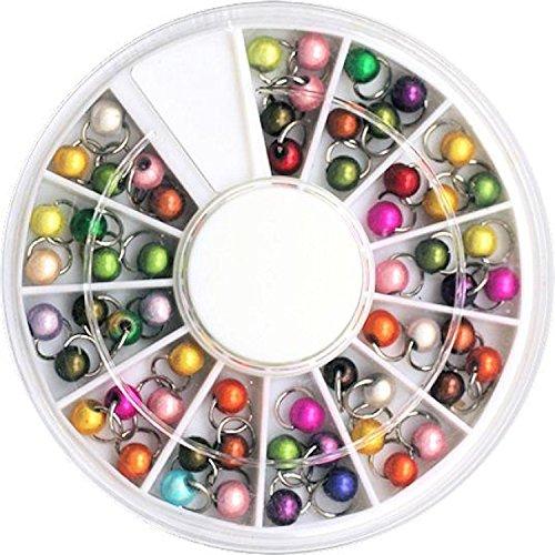 1 grote straatfiets met 60 stuks zilverkleurige Dangels/piercings: rond met kleine parels (kleurrijk gemengd).