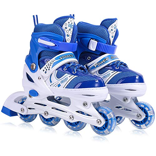 Kids Adjustable Inline Skates with Flashing Light Up Wheels for Boys and Girls,Ice Skating Equipment Small&Medium Size Safe and Durable Children Roller Skates Perfect for Beginners (Small-Blue)