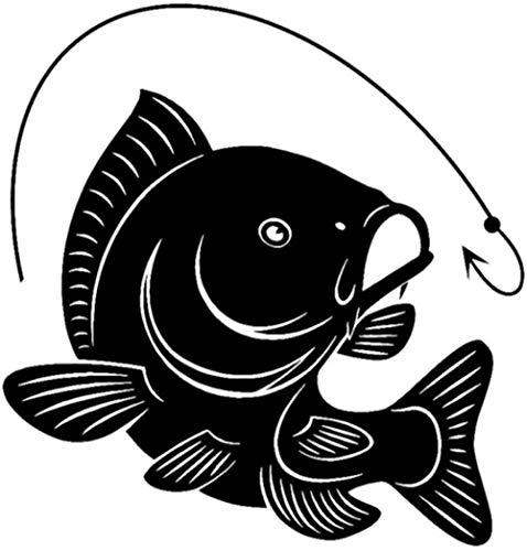 UYEDSR Pegatinas Coche 14.1CMX14.7CM Carpa Pesca Anzuelo Calcomanía Etiqueta Engomada del Coche Vinilo Calcomanía Decoración Arte Pescador Pescadores Hobby-Black_2pcs