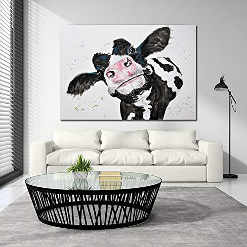 Fincico Aquarell Kuh Leinwand Malerei Wandkunst Drucke Poster Moderne Tierkunst Wandbilder für Wohnzimmer 70x100cm
