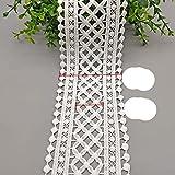 70mm 75mm negro blanco ahueca hacia fuera la cinta de encaje bordado floral ropa de bricolaje tela de costura cinta de encaje vestido decoración de ropa-blanco