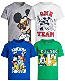 Disney Boys' 4 Pack T-Shirt - Mickey Mouse & Friends Short Sleeve Graphic Tee (Toddler/Little Boy), Size 7, White/Grey/Green/Red