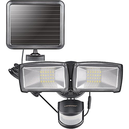 LEPOWER Solar LED Security Light, 950LM Outdoor Motion Sensor Light, 5500K, IP65 Waterproof, Adjustable Head Flood Light with 2 Modes Automatic and Permanent on, for Entryways, Patio, Yard