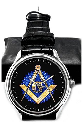 Orologio da polso classico massonico art zaffiro logo blu da collezione 40 mm