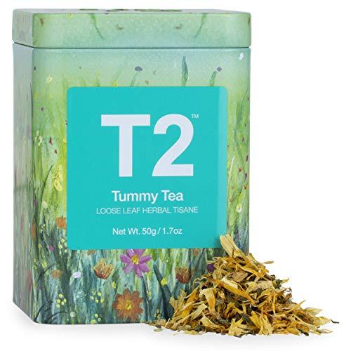 T2 Tea Tummy Tea, 1.7 Oz Loose Leaf Herbal Tea in Tin - Mint, Liqourice & Fennel Tea for Stomach Relief, 50 g