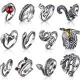 dcola 12 pezzi anello vintage da uomo donna anello punk anello aperto regolabile forma di serpente rana volpe stile punk adatto per festa regalo anello con dito personalità diametro in 2-2.5cm