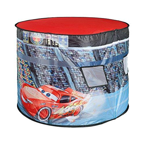 My Starlights Pop Up Spielzelt Oval Rennstrecke Disney Cars mit drehendem Discolicht beleuchtet Kinderzelt Indoor Grundfarbe: rot