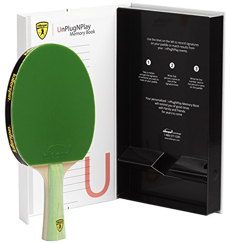 Killerspin JET200 Lime Ping Pong Racket – Beginner Table Tennis Racket| 5 Layer Wood Blade, Jet Basic Rubbers, Flared Handle| Practice Quality Ping Pong Racket| Memory Book Gift Box Storage Case
