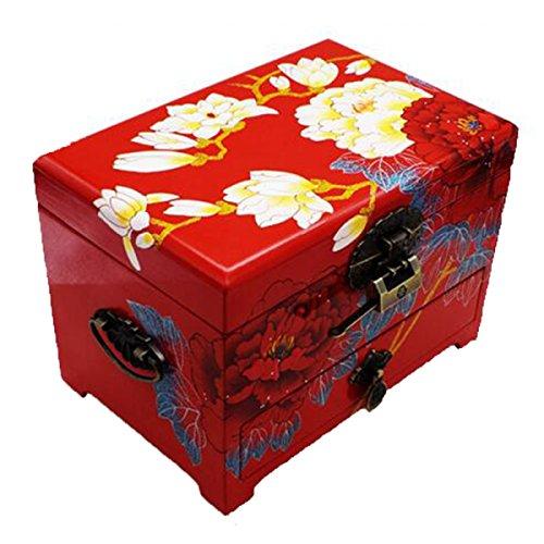 ANHPI Hölzerne Schmuckschatulle Retro-Sperre DREI Schichten Aufbewahrungsbox Vanity Box Watch Box Hochzeitsgeschenk,Red