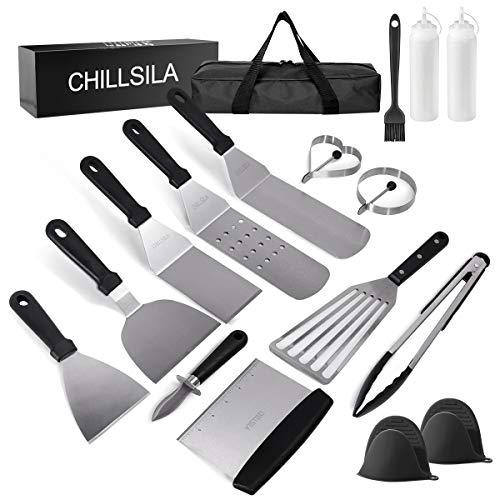 Grillspachtel Set, Professionelles Grillbesteck, Plancha Grillwender BBQ Werkzeugset Edelstahl 16Pcs für Outdoor und Indoor