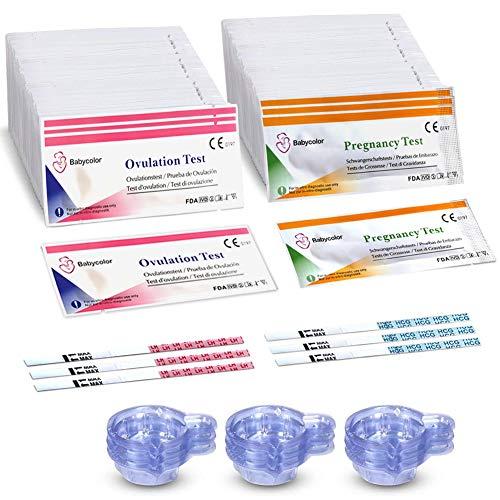 50 Pruebas de Ovulación ultrasensibles (20mlU/ml) y 20 Tests de Embarazo de alta sensibilidad (10mlU/ml) - Formato 3 MM, Kits de Tests de Ovulación y Fertilidad - 70 Taza de orina