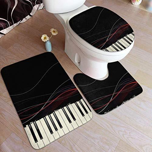 RedBeans rutschfeste Badematte, 3-teiliges Flanell-Badezimmerteppich-Set, musikalische Tastatur, weiche WC-Vorleger, rutschfeste Duschvorleger, Teppich und WC-Vorleger
