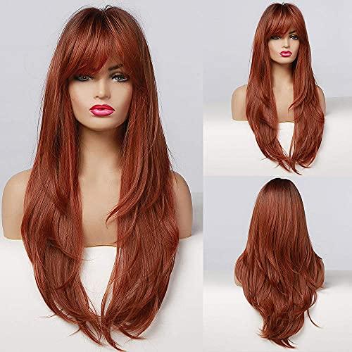 Perruques longues raides ombrées noires rouges marron synthétiques pour femme - Fibre résistante à la chaleur - Aspect naturel - Avec frange longue et raide