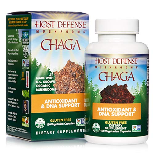 Host Defense, Chaga Capsules, Antioxidant and DNA Support, Daily Mushroom Supplement, Vegan, Organic, 120 Capsules (60 Servings)