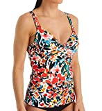 Anne Cole Women's Twist Front Underwire Cup Sized Tankini Swim Top, Sunset Floral, 34B/32C