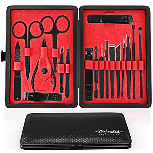 18 in 1 Professional Manicure Set Stainless Steel Nail Clipper Tools with Travel Leather Case for Women and Men Elegant Gift