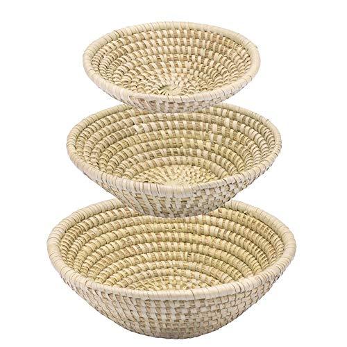 Gruener Handel Flechtkorb Kaisagras Rund - Natur - Handarbeit - Fair Trade (Set (alle DREI Größen))