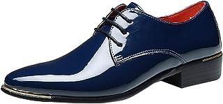 Sunny&Baby Zapatos de Charol de PU de los Hombres con Cordones Mocasines del Smoking Bloque del Talón Forrado Negocios Oxf...