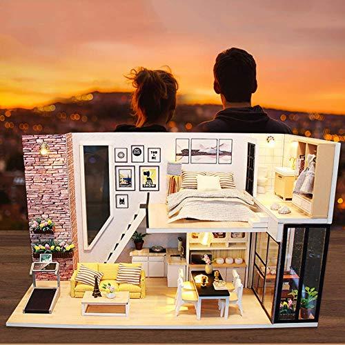 Casa de muñecas en miniatura con muebles, kit de casa de muñecas de bricolaje más a prueba de polvo y movimiento musical, modelo de habitación creativa a escala 1:24 para construir, regalo para amigo