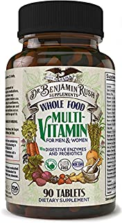 Dr. Benjamin Rush Natural Whole Food Daily Multivitamin and Probiotic for Men & Women. All-in-One Non-GMO Superfood Vegeta...