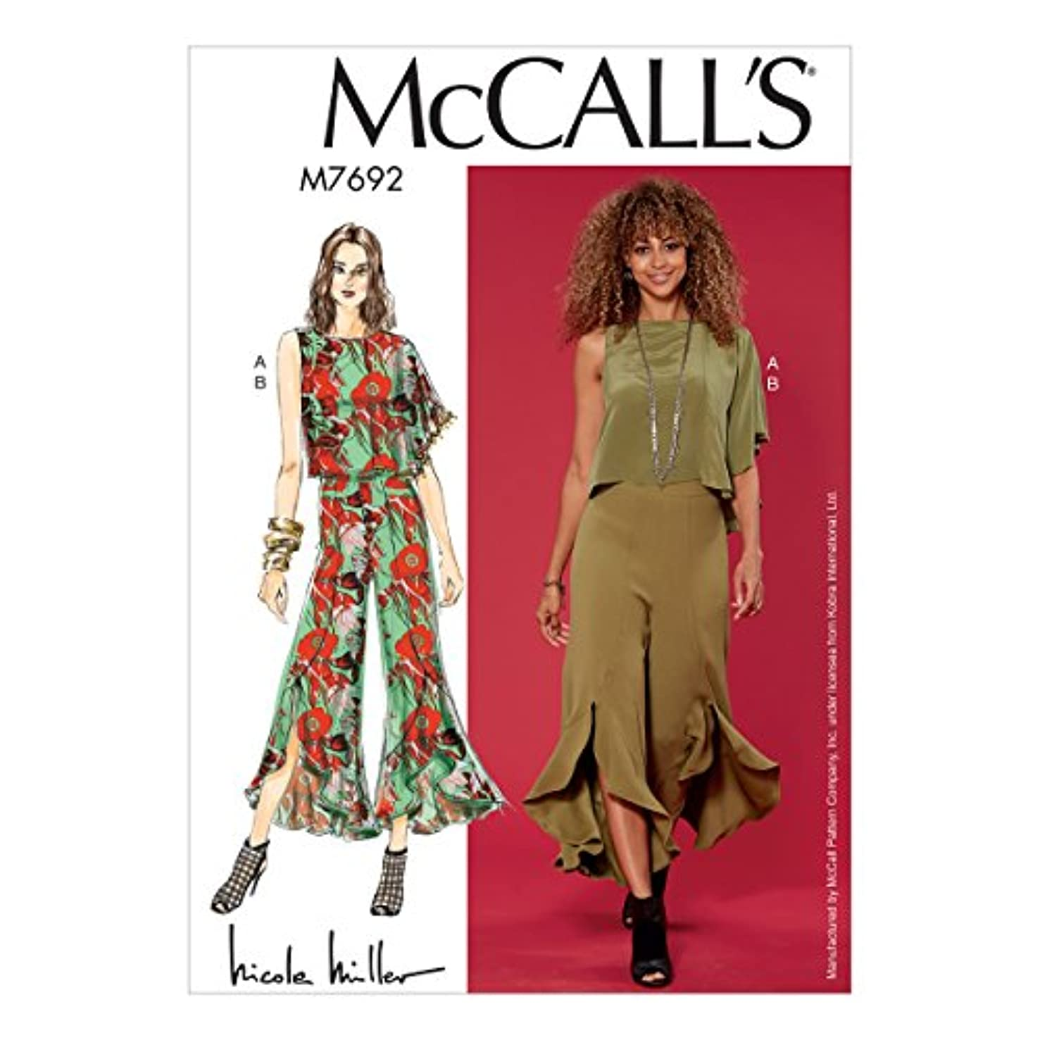 McCall Patterns M7692E50 Misses Draped Top and Flounced Pants