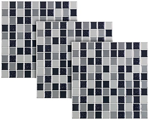 infactory Fliesenkleber: Selbstklebende 3D-Mosaik-Fliesenaufkleber, 25,5 x 25,5 cm, 3er-Set (Fliese)