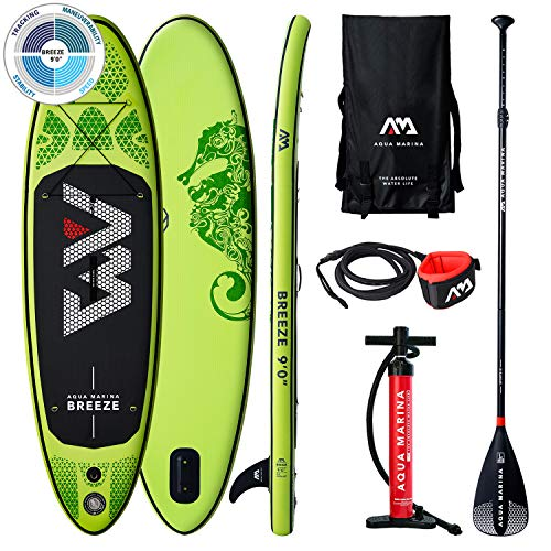 AM AQUA MARINA Stand Up Paddle Board Breeze 2020 aufblasbar im Set iSUP Dicke 9 Zoll Stand-Up Paddling SUP-Board 275 x 76 x 12 cm