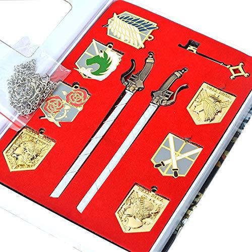 Memteor Anime Attack on Titan Cosplay Shingeki no Kyojin Badge Collier Pendentif épée Ensemble Scoutisme Légion emblème Alliage Porte-clés