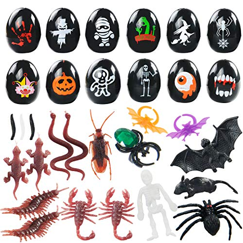 Kissdream More than 20 Pcs Trick toys and 12pcs of painted eggs include spiders, bats, cockroaches, skeletons
