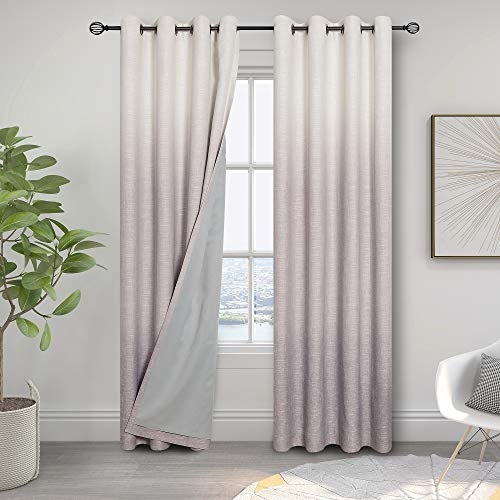 Central Park Ombre 85% Blackout Room Darkening Window Curtains for Bedroom Heavy Linen Texture 8 Grommets Top Gradient Print Cream White to Lavender Purple Curtain for Living Room 50' x 84', 1 Piece