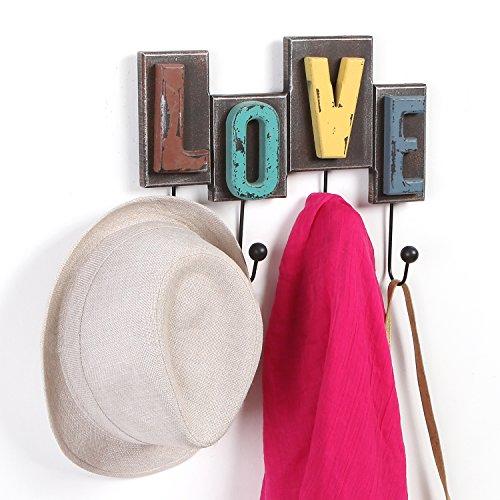 MyGift Multicolored Rustic Finish Wood Love Design Decorative Wall Mounted Coat Rack w/ 4 Metal Hooks
